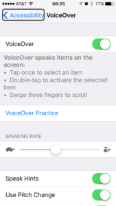 mike writing recording content audio option iOS 9 Accessibility Settings