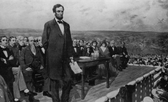 Abraham Lincoln at Gettysburg mike writing public speaking
